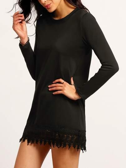 Black Round Neck Lace Hem Loose Dress