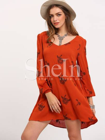 Yellow Broderie Long Sleeve Floral Embroidery Embellishments Dress