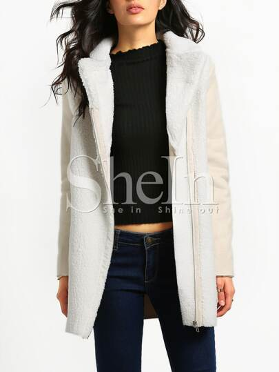 Beige Long Sleeve Lapel Coat