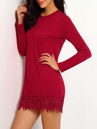 Red Round Neck Lace Hem Loose Dress