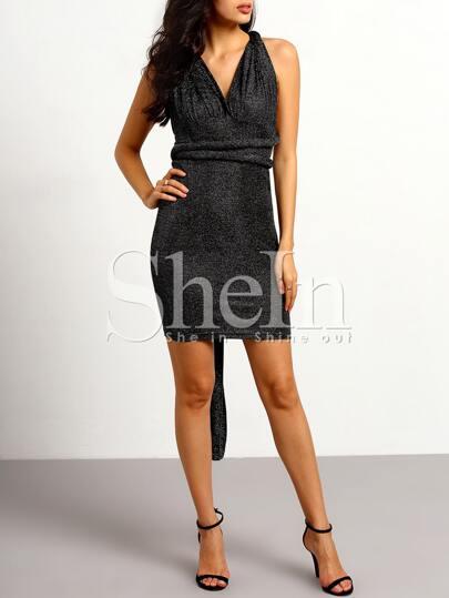 Black Backless Sequined Dress