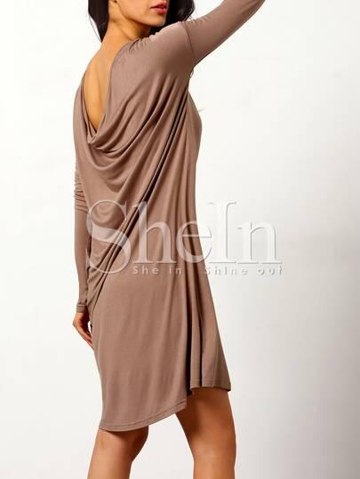 Grey Round Neck Casual Dress