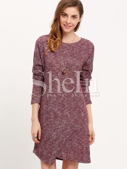 Burgundy  Round Neck Asymmetric Dress