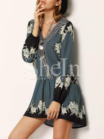Multicolor V Neck Vintage Print Dress