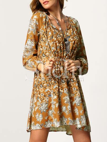 Yellow Baggy Long Sleeve Floral Dress