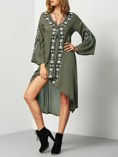 Army Green V Neck Embroidered High Low Dress