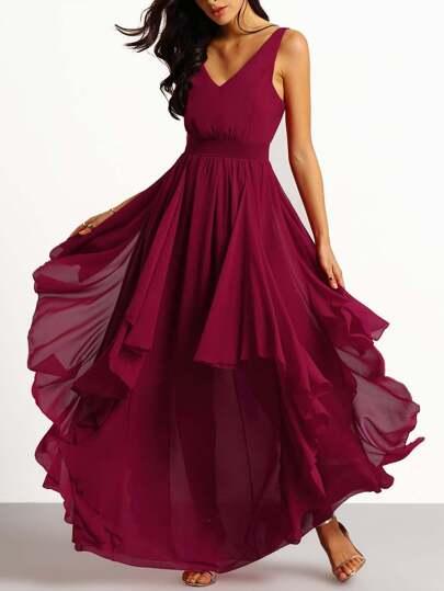 Vestito con scollo a V color vinaccia