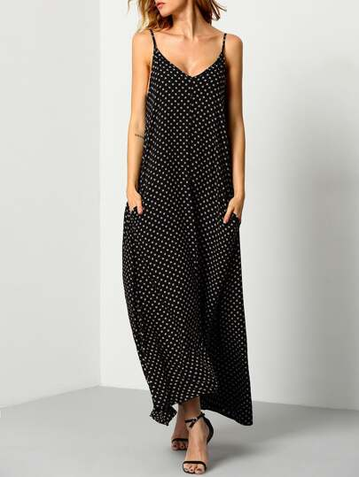 Polka Dot Backless Maxi Cami Dress