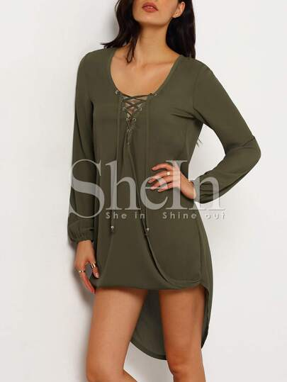 Army Green Long Sleeve Lace Up Asymmetric Dress
