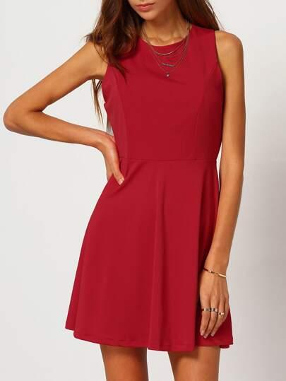 Red Round Neck Sleeveless Flare Dress