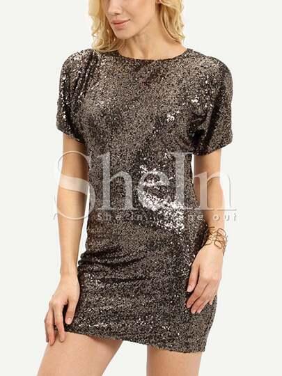 Gold Short Sleeve Sparkles Split Back Glitzy Glittering Sequined Dress