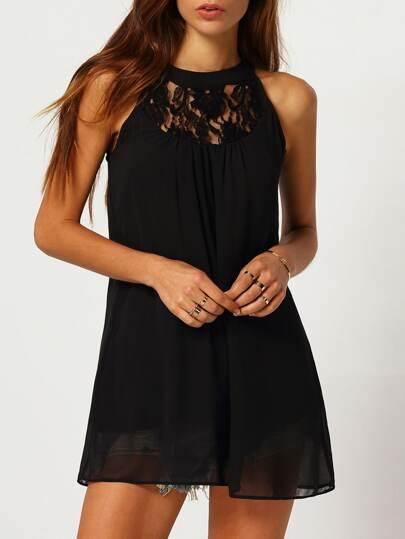 ärmelloses Kleid mit Neckholder und Netzspitze-schwarz