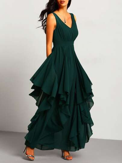 Green Deep V Neck Maxi Chiffon Dress