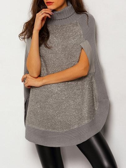 Grey High Neck Loose Cape Sweater
