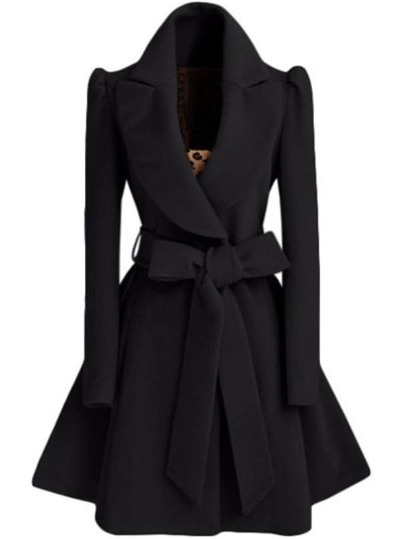 Black Shawl Collar Frock Coat With Belt