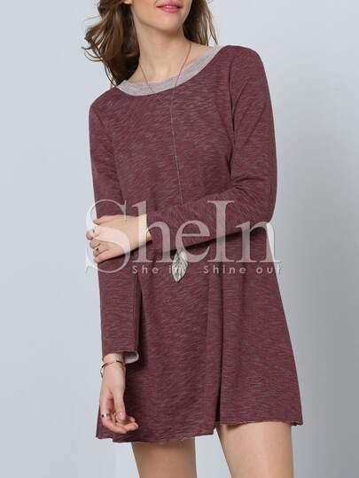 Dark Sienna Long Sleeve Backless Casual Dress