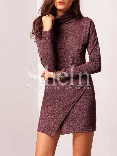 Purple Turtleneck Asymmetric Sweater Dress