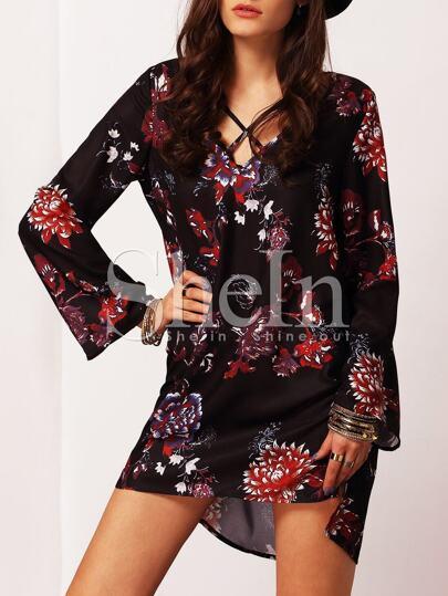 Black Flutter Long Sleeve Floral Dress