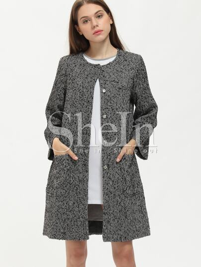 Black Collarless Pockets Coat Look Dress