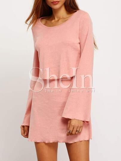 Pink Long Sleeve Backless Dress