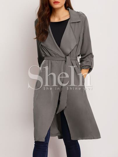 Grey Long Sleeve Lapel Pockets Trench Coat
