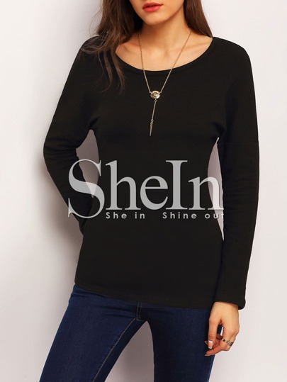 Black Long Sleeve Back Zipper T-shirt