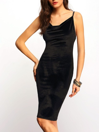 Black V Neck Spaghetti Strap Pencil Dress