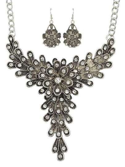 Vintage Style Atsilver Rhinestone Flower Pendant Necklace Drop Earrings Indian Jewelry Set