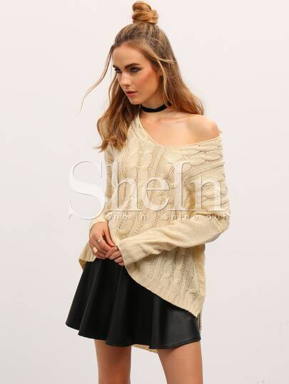 Pull fendu high-low -beige