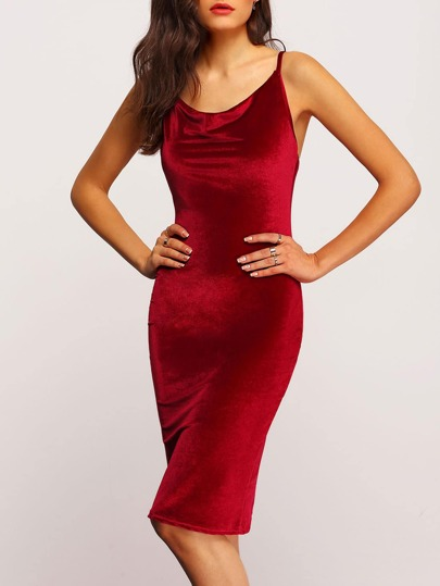 Women Burgundy Slip Velvet Pencil Dress