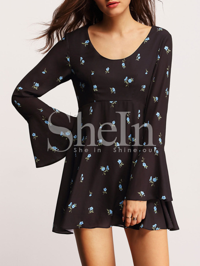 Black Long Sleeve Scoop Neck Ruffle Floral Dress