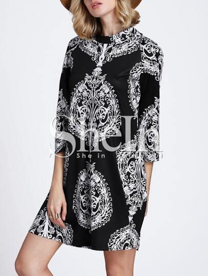 Black Monochrome Vintage Print Cut Out Retro Dress