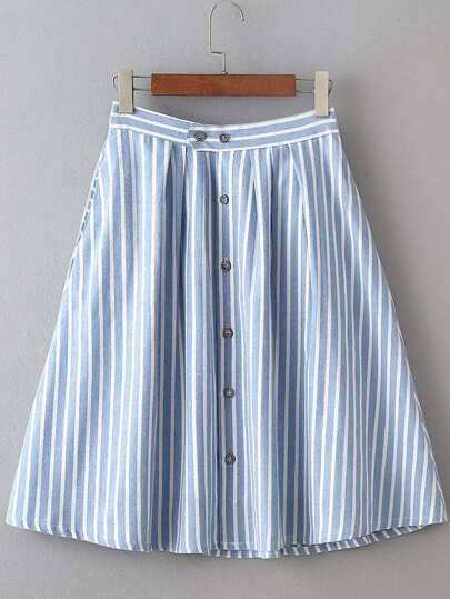 Vertical Striped Single Breasted Circle Skirt