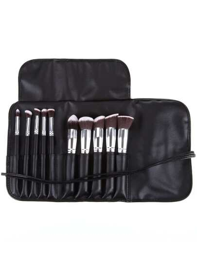 10pcs Professional Makeup Set Brushes Tools Silver Black With Bag