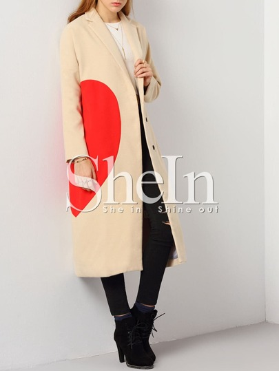 Apricot Lapel Color Block Coat