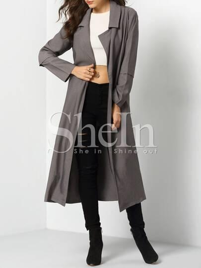 Grey Long Sleeve Pockets Trench Coat