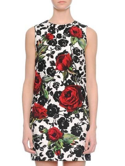 White Crew Neck Rose Jacquard Dress