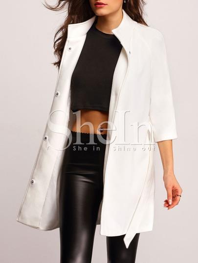 Beige Lapel Belted Coat