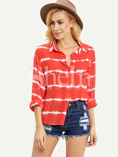 Red Striped Loose Blouse