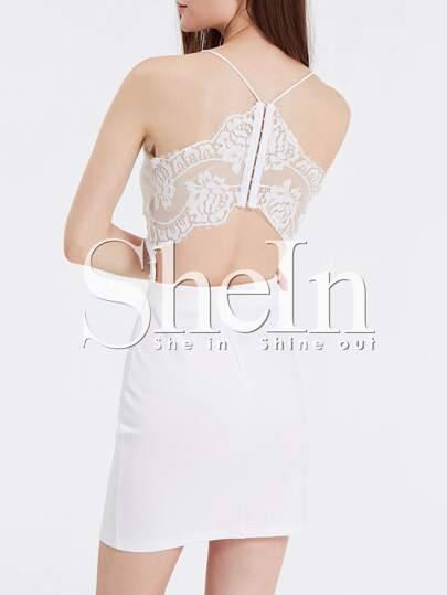 White Spaghetti Strap With Lace Dress