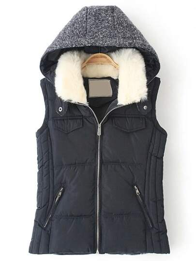 Black Hooded Zipper Down Vest