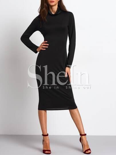 Black Turtleneck Long Sleeve Sheath Dress