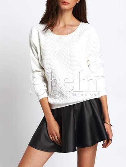 White Round Neck Loose Sweatshirt