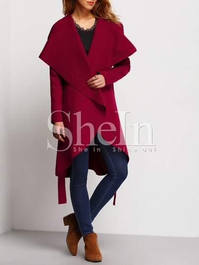 Burgundy Long Sleeve Lapel Ruffle Coat