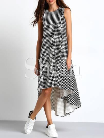 Black White Sleeveless Houndstooth High Low Dress