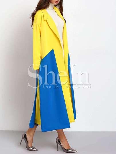 Yellow Blue Long Sleeve Lapel Color Block Coat