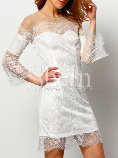 White Eyelash Lace Insert Mesh Shoulder Dress