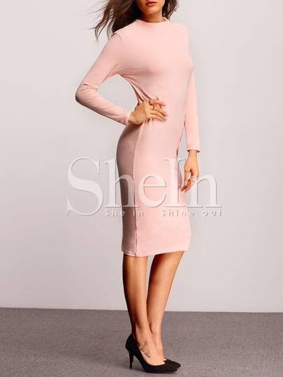 Pink Long Sleeve Sheath Dress