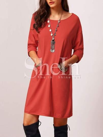Orange Round Neck Pockets Casual Dress