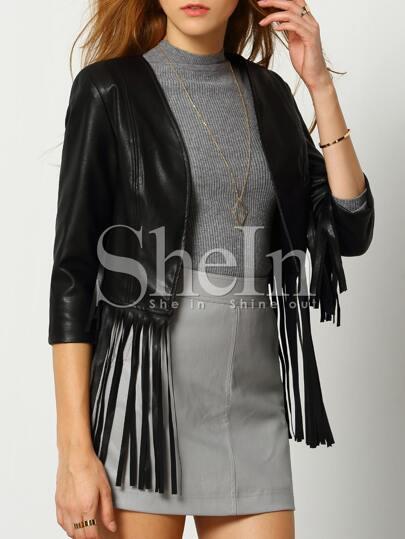 Black Tassel Crop Jacket
